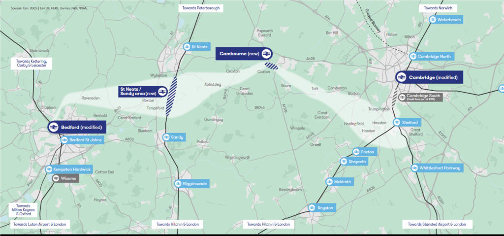 East West Rail on map